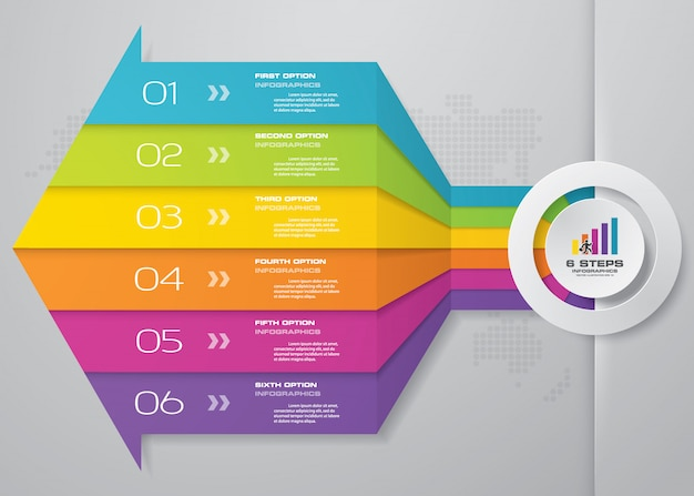 6 étapes du modèle d'infographie de flèche.