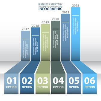 6 étapes moderne et propre modèle de conception business infographics