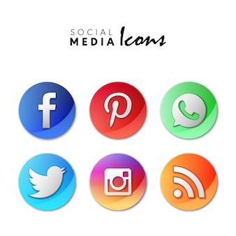 6 icônes populaires de médias sociaux dans les cercles 3d
