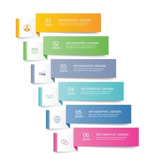 6 modèles d'index de papier à onglet infographie de données. abstrait illustration vectorielle.