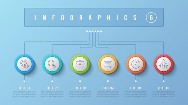 6 options de conception infographique, organigramme, présentation