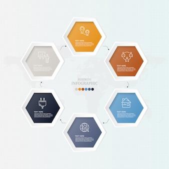 6 processus infographique pour concept d'entreprise.