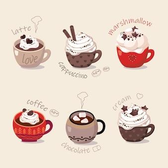 6 tasses de café chaud, chocolat, chantilly, guimauve, cannelle