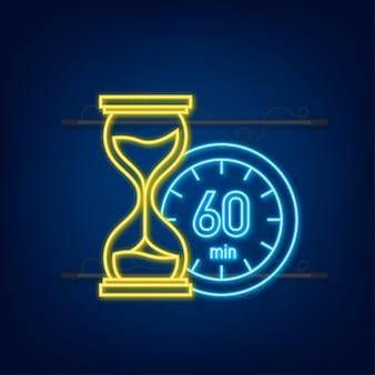 Les 60 minutes, icône de néon de vecteur de chronomètre. icône de chronomètre dans un style plat, minuterie sur fond de couleur. illustration vectorielle.