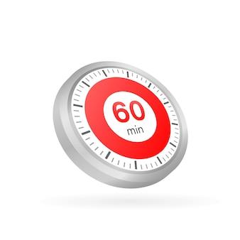 Les 60 minutes, icône de vecteur de chronomètre