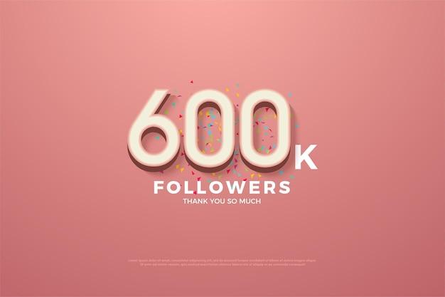 600 000 abonnés avec des chiffres et des gribouillis colorés