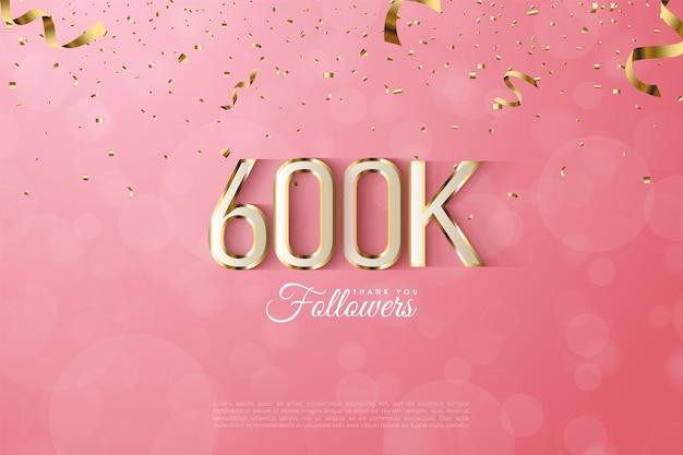 600 000 adeptes avec bordure en chiffres dorés fantaisie