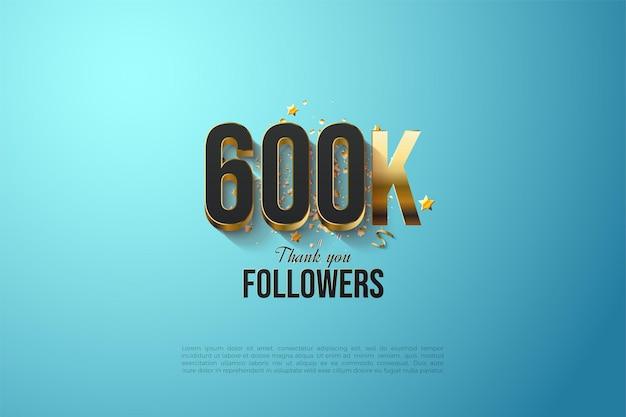 600k followers avec des chiffres plaqués or massif