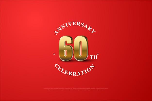 60e anniversaire avec des chiffres et des antécédents.