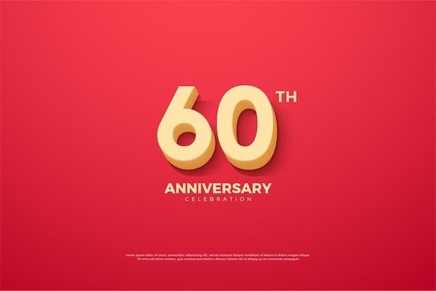 60e anniversaire avec des nombres animés sur fond rose.