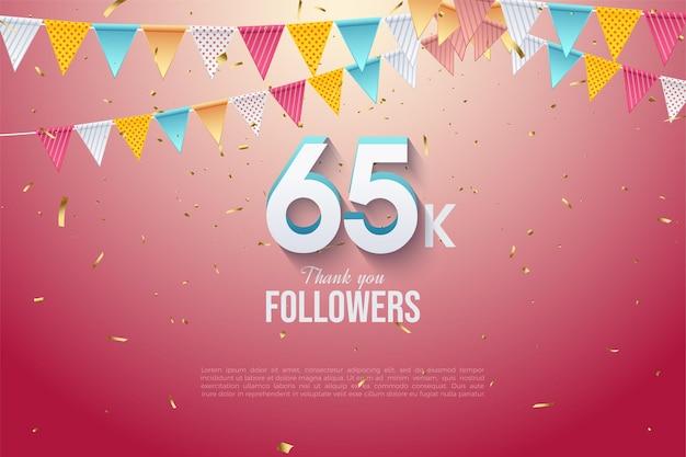65 000 abonnés 65 000 abonnés avec des chiffres en 3d et des drapeaux colorés