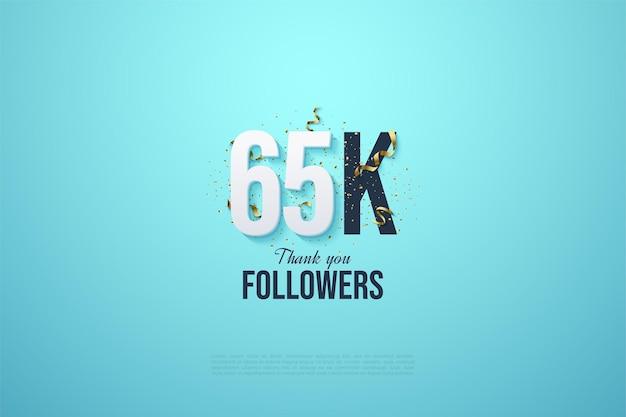 65 000 abonnés avec un numéro de design plat et des festivités
