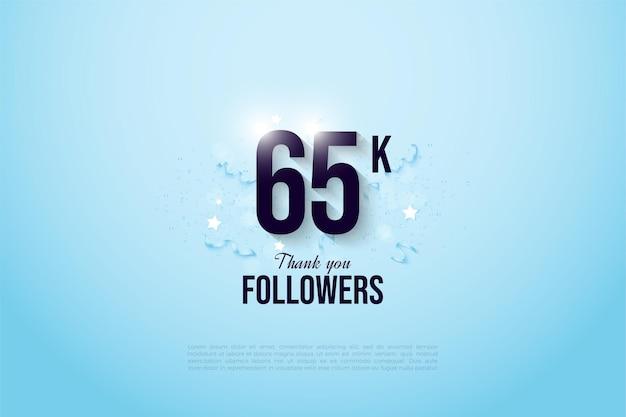 65 000 Abonnés Avec Un Numéro De Design Plat Et Des Festivités Vecteur Premium