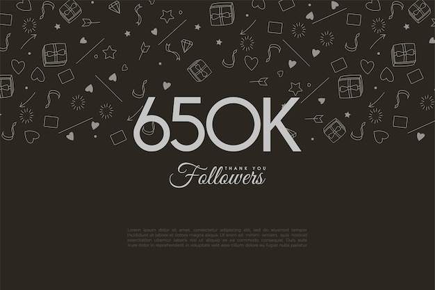 650 000 abonnés avec des chiffres et des vignettes en arrière-plan