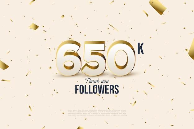 650 000 abonnés avec illustration de dispersion de feuille d'or