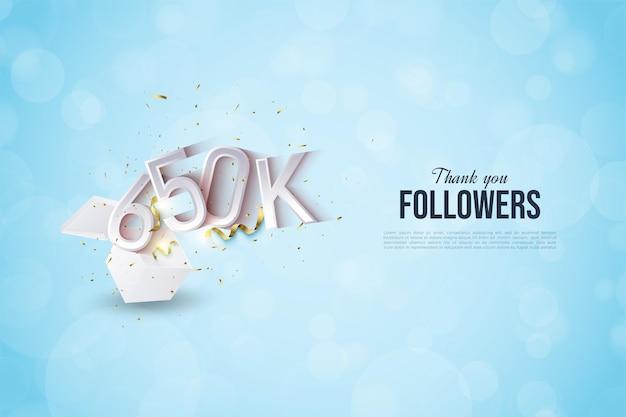 650 000 abonnés avec des illustrations de personnages qui apparaissent