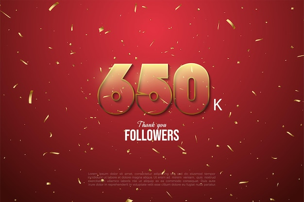 650 000 abonnés avec des nombres bordés d'or