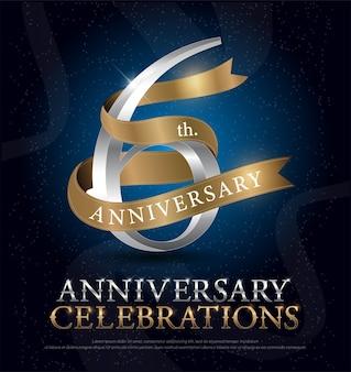 6ème anniversaire célébration argent et ruban d'or