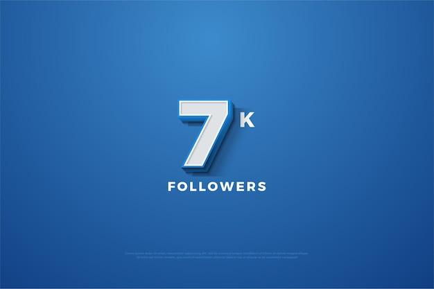 7 000 abonnés avec des chiffres apparaissant sur un fond bleu