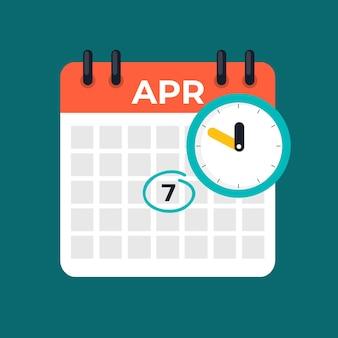 7 avril icône du calendrier quotidien. journée mondiale de la santé