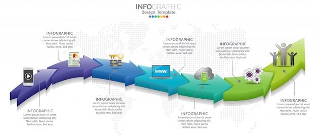 7 icônes de conception infographique et marketing peuvent être utilisées pour la présentation du flux de travail