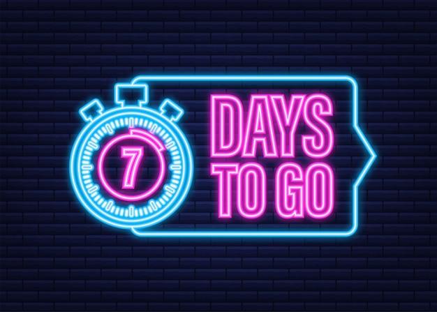 7 jours pour aller. icône de style néon. conception typographique de vecteur. illustration vectorielle de stock.