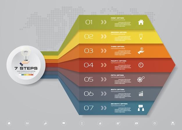 7 niveaux de flèche modèle de tableau pour la présentation.
