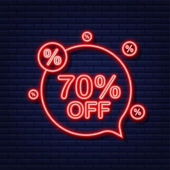 70 pour cent de réduction sur la bannière de réduction de vente. icône néon. étiquette de prix de l'offre de remise. illustration vectorielle.