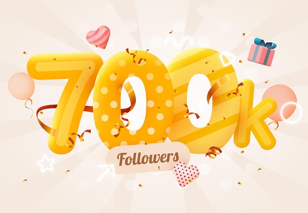 700k ou 700000 abonnés merci coeur rose, confettis dorés et enseignes au néon.