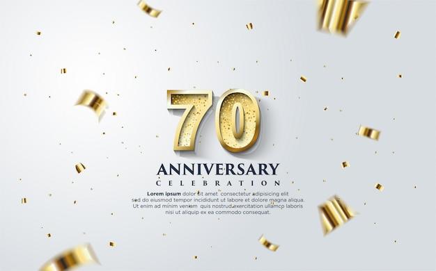 70e anniversaire avec une illustration de figures d'or sur fond blanc.