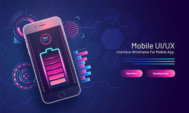 75% de la charge de la batterie dans un téléphone intelligent isométrique sur un circuit hi-tech pour la page de destination basée sur mobile ui / ux.