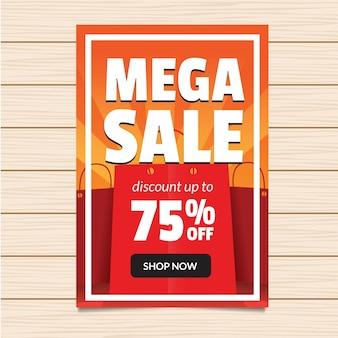 75% de réduction sur l'illustration de la bannière mega sale