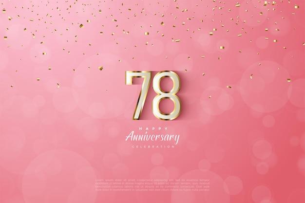 78e anniversaire avec bordure luxueuse en chiffres dorés