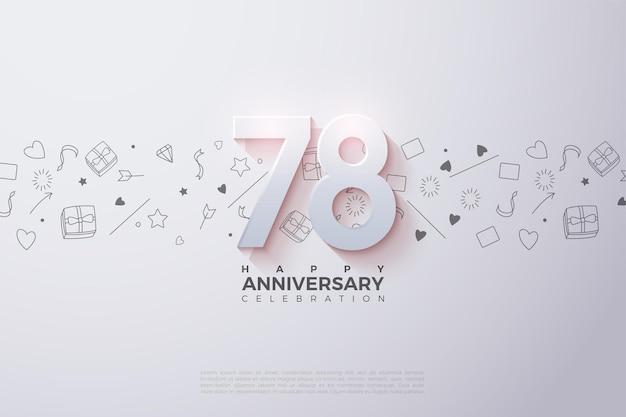 78e anniversaire avec des chiffres 3d doux