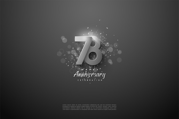 78e anniversaire avec chiffres argentés en relief
