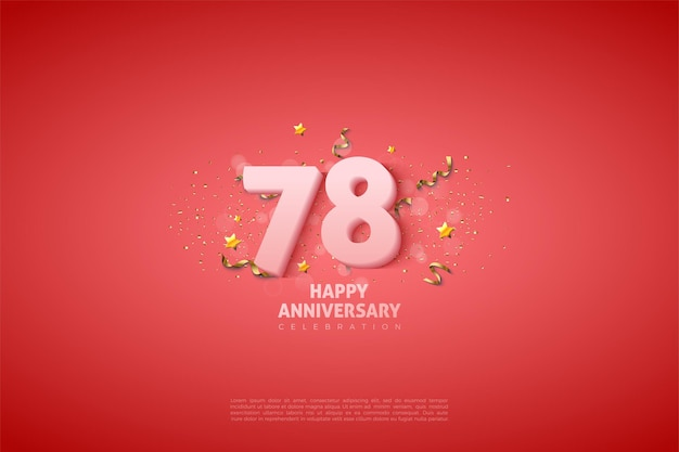 78e anniversaire avec des chiffres blancs doux