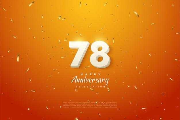 78e anniversaire avec des chiffres blancs en gras