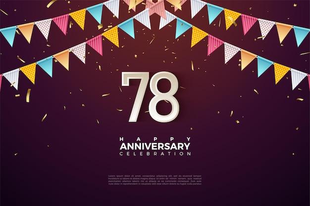 78e anniversaire avec des chiffres et des drapeaux colorés