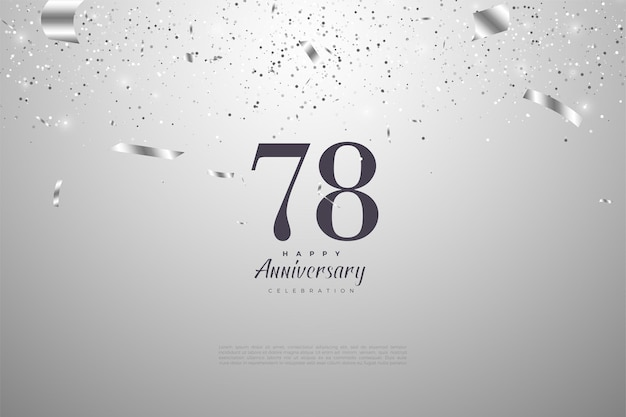 78e anniversaire avec chiffres noirs sur argent