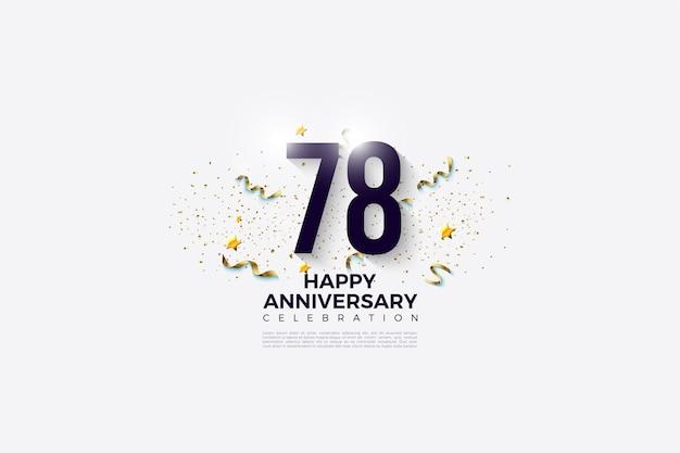 78e anniversaire avec des chiffres noirs brillants