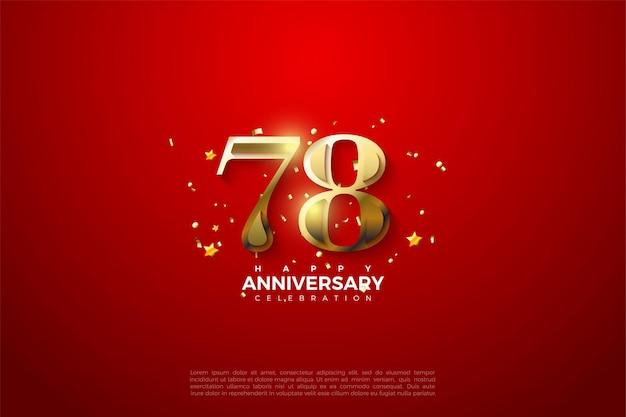 78e anniversaire avec des chiffres en or brillant