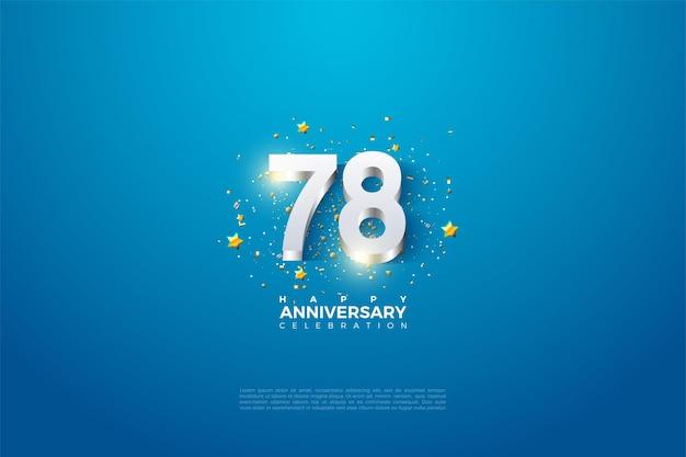 78e anniversaire avec des chiffres plaqués argent