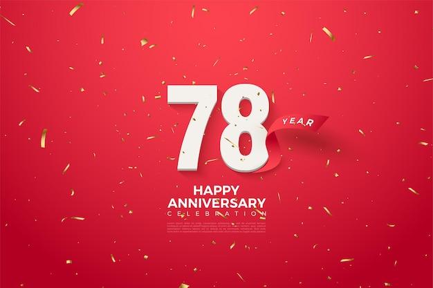 78e anniversaire avec chiffres et ruban rouge