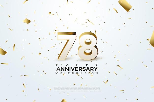 78e anniversaire avec du papier d'or dispersé