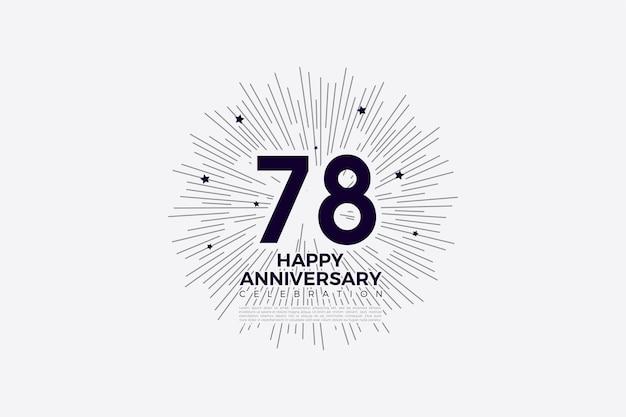 78e anniversaire en noir sur papier blanc