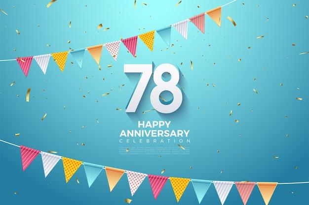 78e anniversaire avec des nombres 3d et des rangées de drapeaux
