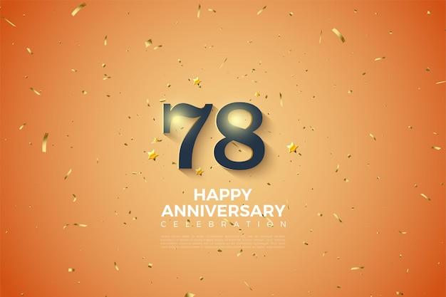 78e anniversaire avec numéro de dégradé