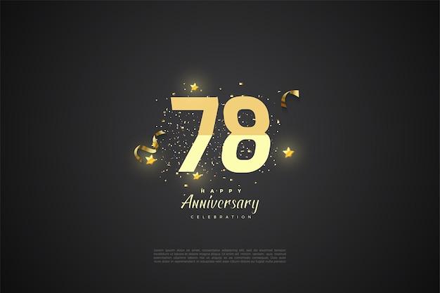 78e anniversaire avec des numéros gradués sur fond noir