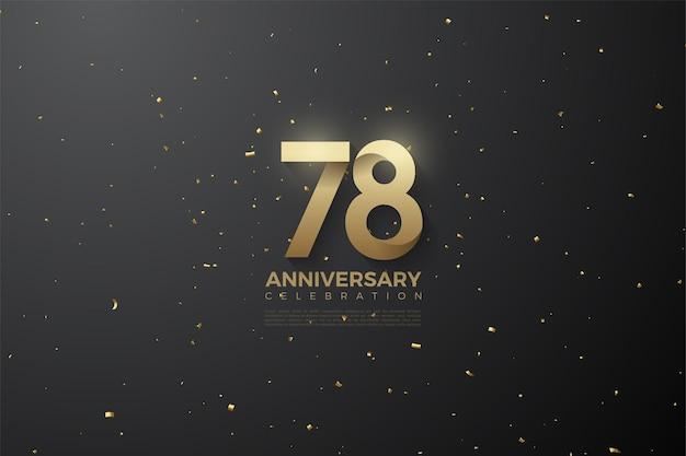 78e anniversaire avec des numéros à motifs uniques