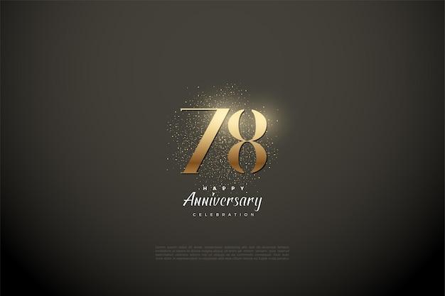 78e anniversaire avec des numéros de paillettes d'or